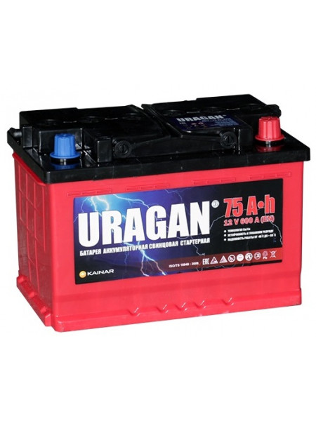 Аккумулятор Uragan 75 Ач 600 А